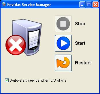 "Envitech Europe Envidas Ultimate Service Manager Screen in a ""Stop"" state"