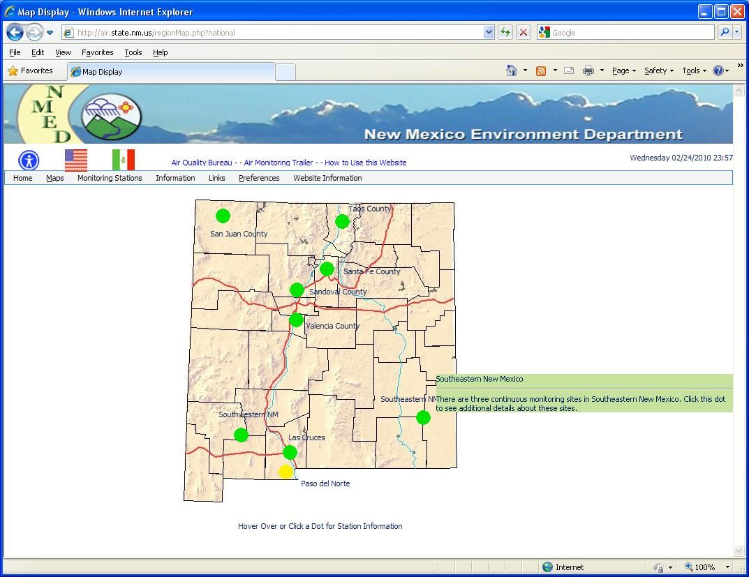 "Envitech Europe EnviWeb AQM Station Map-Example fron Mew Mexico Site.This map reflecting the entire state, while the green spots representing the regions. The mouse is now moving on the Southeastern New Mexico Region.Clicking on it will display the Region Map for this region, as will appear in the ""Region Map"" section."