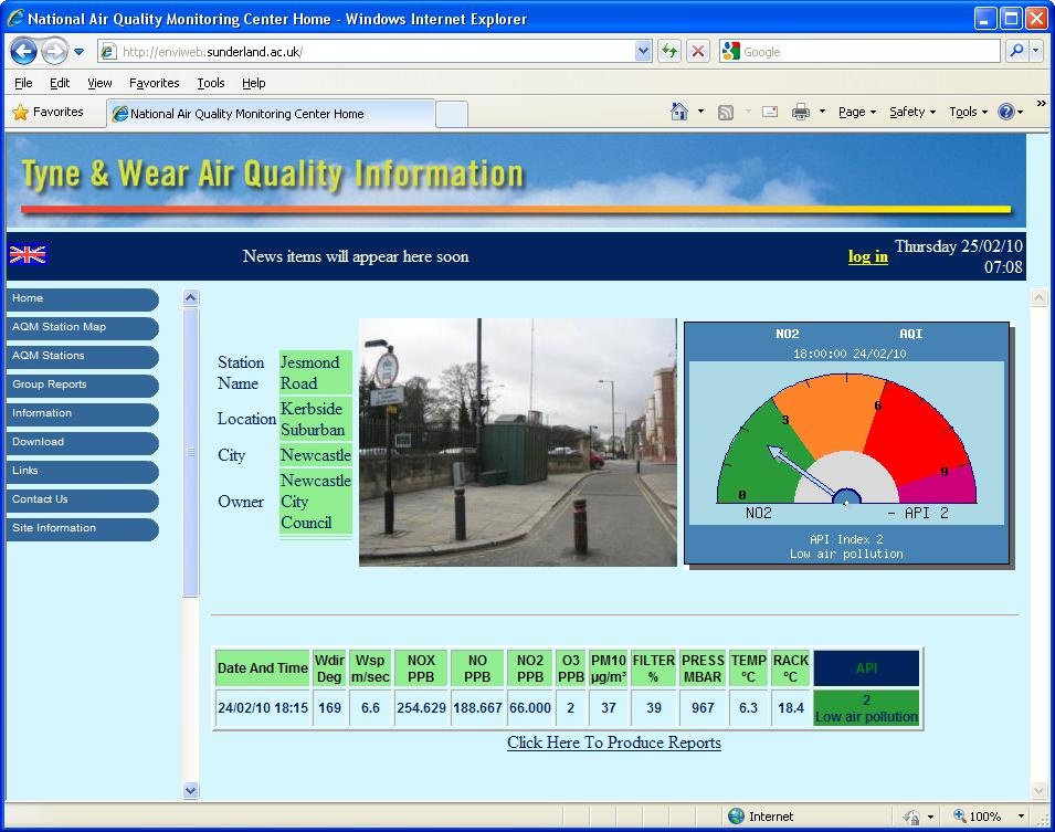"Envitech Europe EnviWeb Station Information Summary-Example for ""Jesmond Road"" station, indicate its picture, last recieved data and a chart that follows the user's selection. Now the user has selected to present in the chart the air quality index of the station. Another option is to display a graph for a pullutant or a rose for wind direction channel."