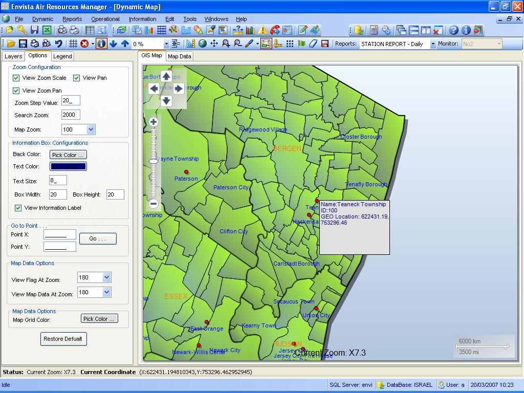 "Envitech Europe Envista ARM Dynamic Map-Example from NJ Map including several stations (red dots) while the mouse is over ""Teaneck Township"" station and the popup window indicate its name, ID and location"