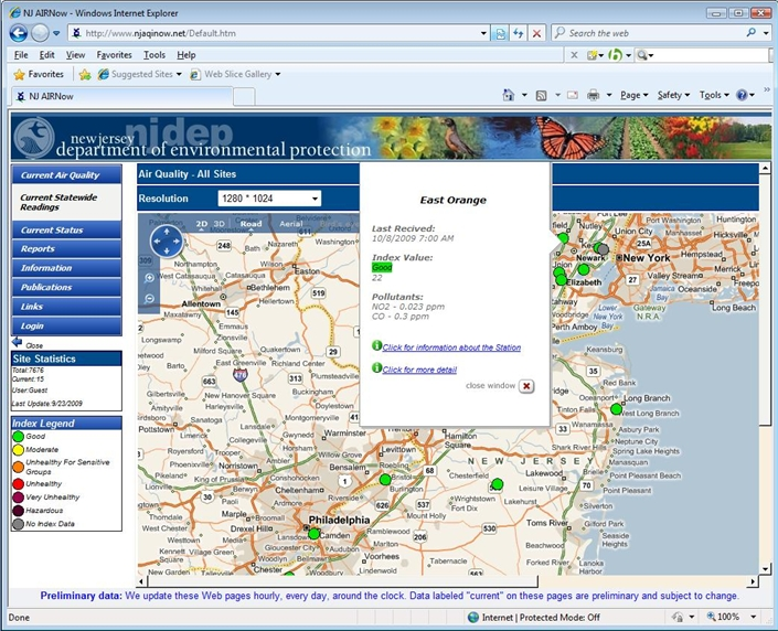 "Envitech Europe EnvistaWeb GIS Map-Example from NJ site reflecting 2-dimensions road map with stations that indicate by index dots and a popup window that appeared after mouse moving on ""East Orange"" station. From this popup window you can reach to the ""Station Information"" screen."