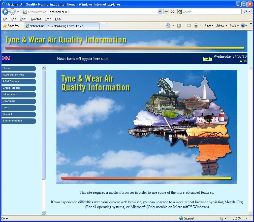 Envitech Europe EnviWeb Welcome Screen of Sunderland Web Site